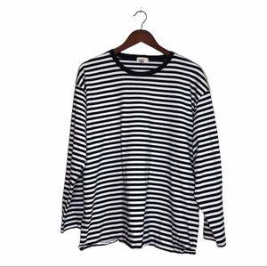 J. Crew Striped Long Sleeve Cotton Tee Shirt